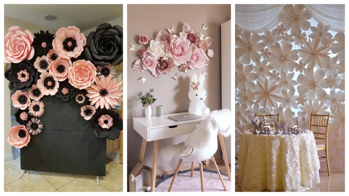 decoracion con flores de papel